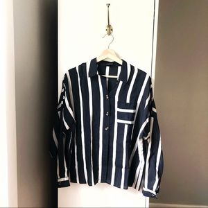 Topshop striped button front long sleeve blouse